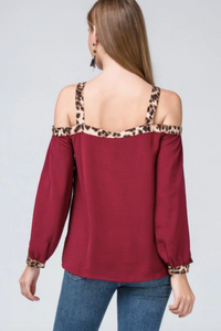 Cheetah & Cranberry Blouse