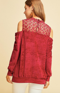 Red Velvet & Lace Top