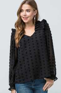 Snowball & Ruffles Blouse - Black