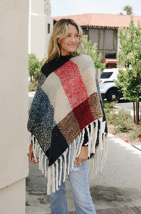 Chunky Plaid Poncho (2 Color Options)