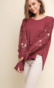 Crochet Sleeve Detail Top - 2 Colors