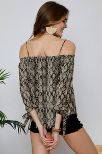 Snakeskin & Bows Off the Shoulder