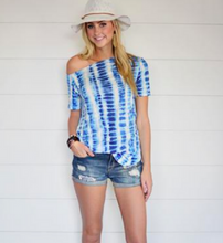 Cali-Love Tie-Dye Off the Shoulder Top in Blue