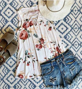 Floral Tie Neck Tank in White