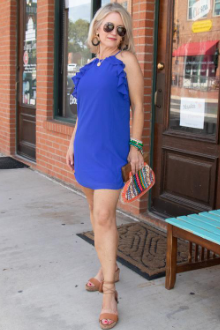 Ruffle Mini Dress - Capri Blue