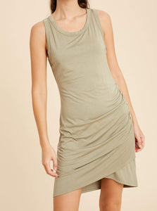 Ruched Mini Dress - Olive