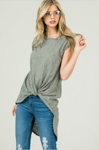 Hi-Low Front Knot Burned Out Top - Olive