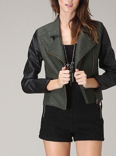Hunter Green Biker Jacket