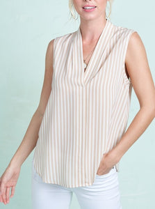 Taupe Sleeveless Striped Blouse
