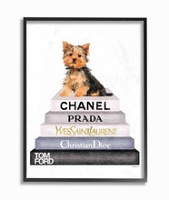 Watercolor High Fashion Bookstack Yorkie Dog  Wood