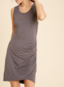 Ruched Mini Dress - Charcoal