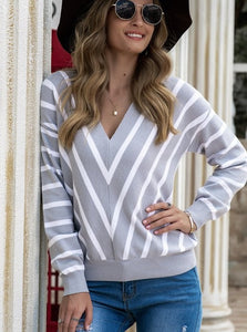 V-Neck Grey & White Sweater