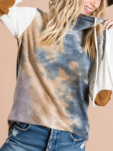 Tie Dye Cowl Neck Sweater