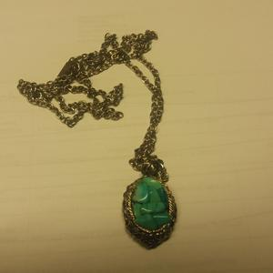 Necklace 4062 - Vintage 1970's Green Celtic Stones - Irish
