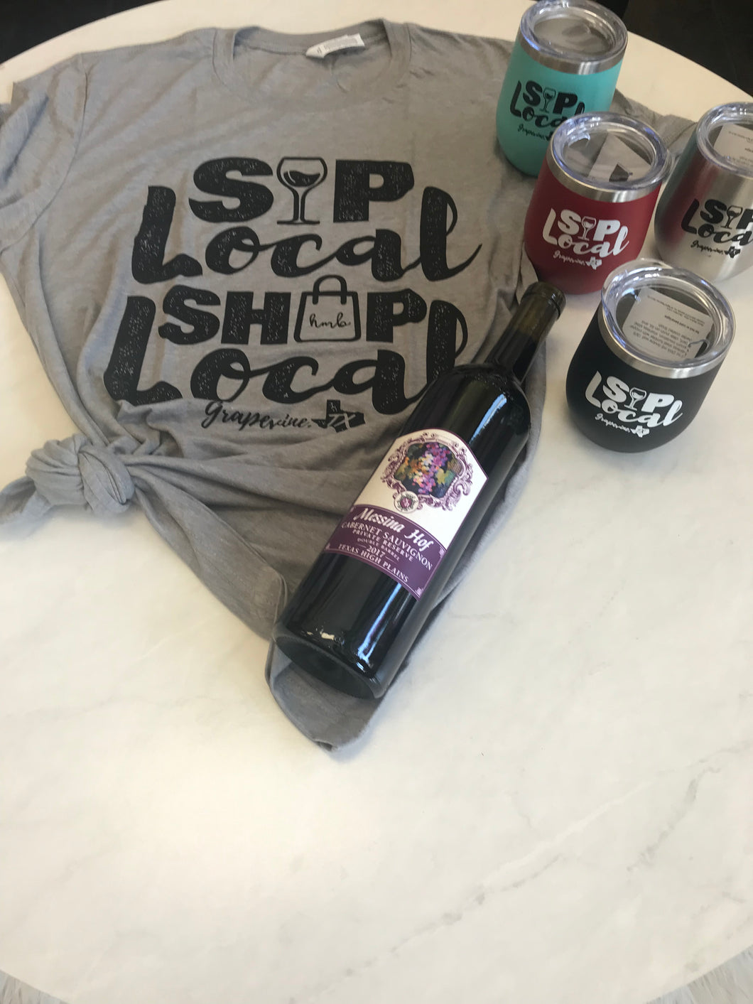Sip Local Tumbler & Sip Local Tee + FREE Messina Hoff Private Reserve Cab