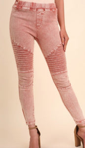Mineral Washed Moto Jeggings with Ankle Zippers