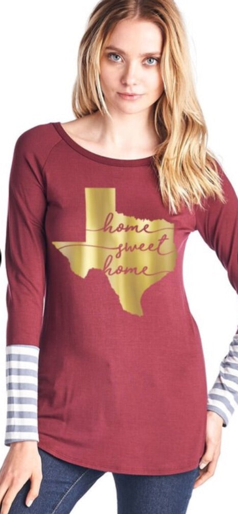 Home Sweet Home Texas Top - Burgundy