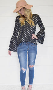 Bell Sleeve Polka Dot Sweater