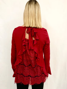 Bell Sleeve Top with Back Lace and Ruffled Details