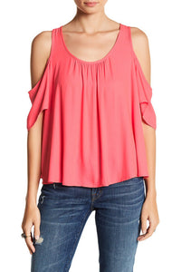 Cold-Shoulder Ruffle Tee - Pink