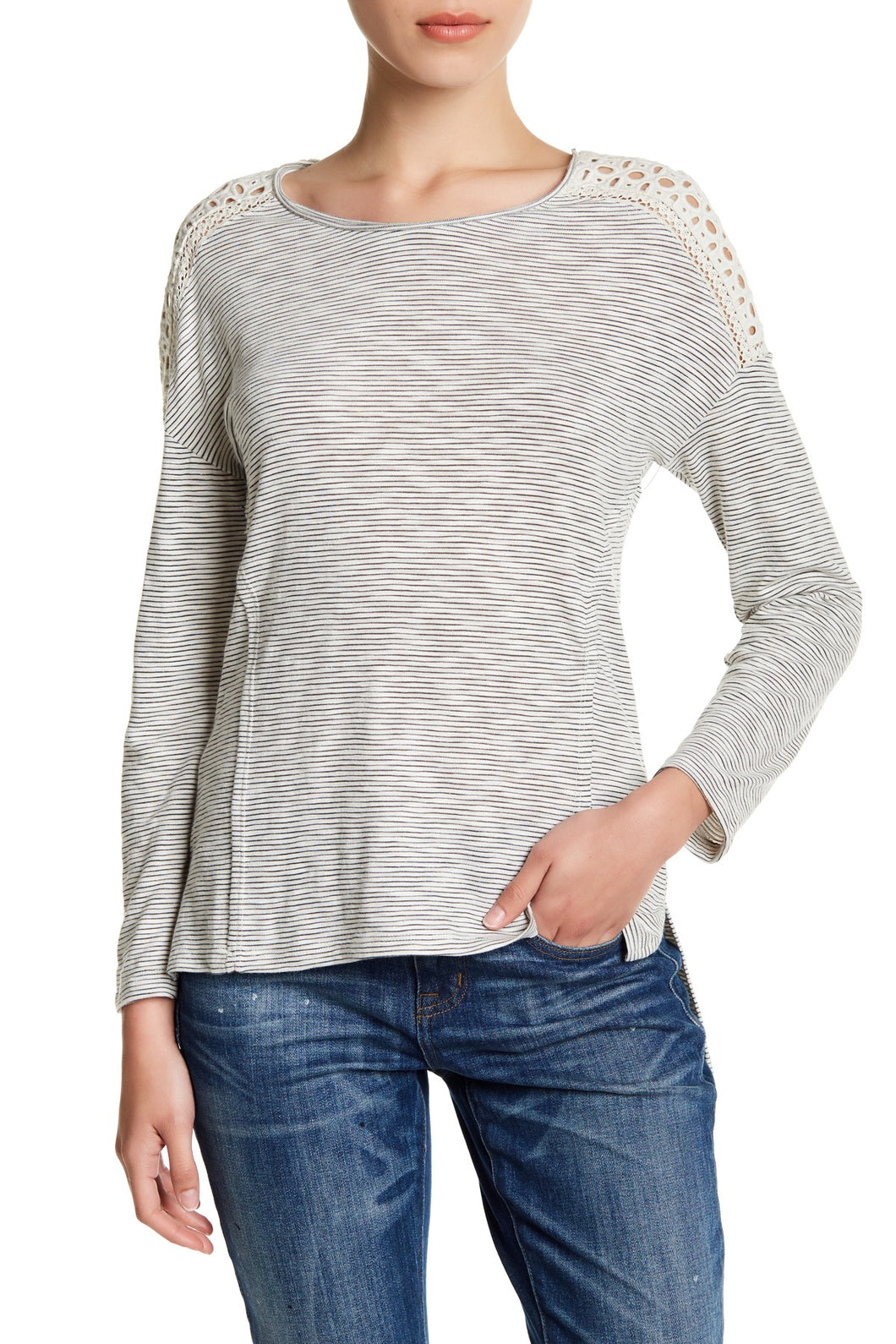 Black & Ivory - Striped Eyelet Yoke Shirt