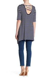 Stripe Elbow Sleeve Crisscross Back Shirt - Navy & White