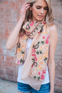 Paisley Floral Embroidered Scarf in Ivory