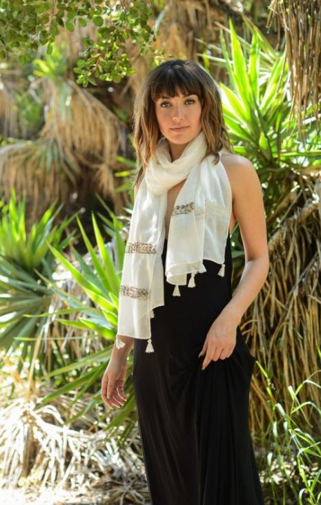 Summer Light Weight Stitch Scarf with Tassel - White