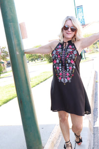Black Halter Floral Dress