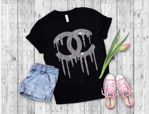 Dripping in Chanel V-Neck Tee - Black