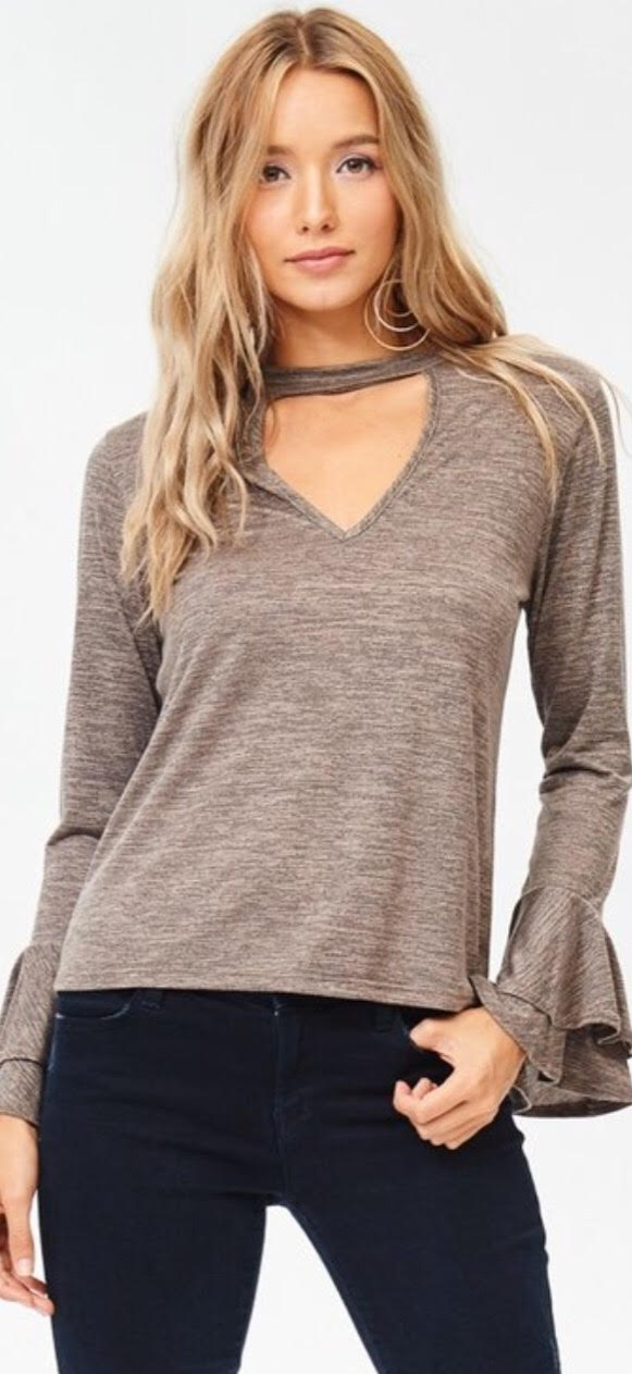 Beige Bell Sleeve Melange Knit Top with Choker - 1 Small Left!
