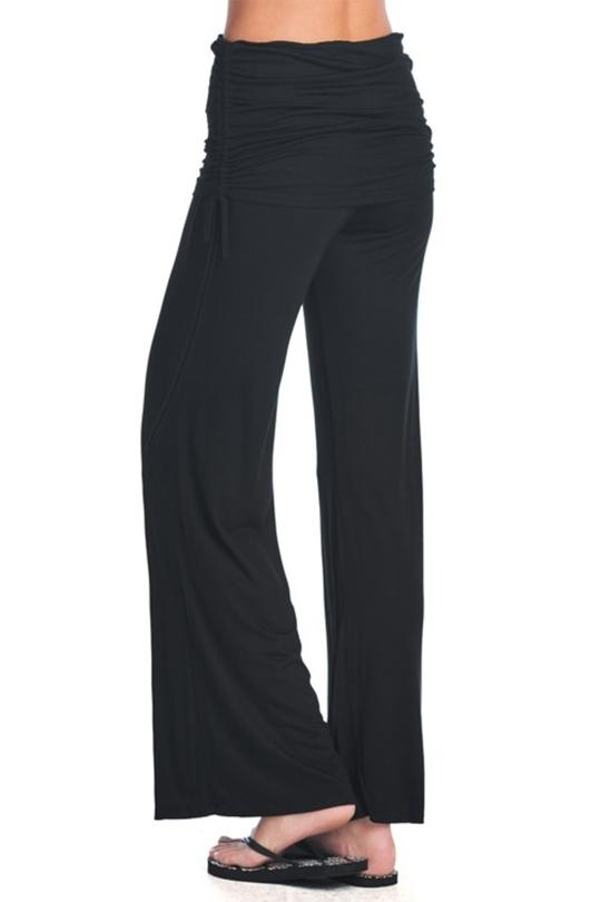 Fold Over Yoga Pants - Black