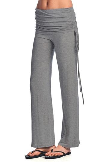 Fold Over Yoga Pants - Heather Grey