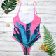 Pink Palm Leaf One Piece Swimsuit-Cocco Pazzo™