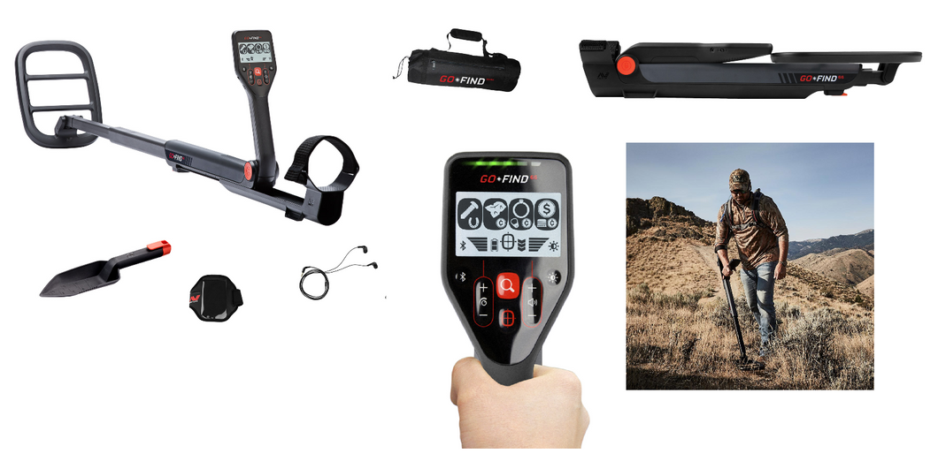 Minelab GO‑FIND 66 collapsible waterproof coil easy to use low cost power treasure hunting metal detector. Lightweight find coins, treasure, rent or buy