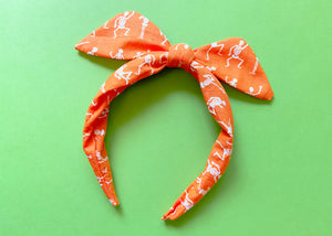 Orange Skeleton Knotted Bow