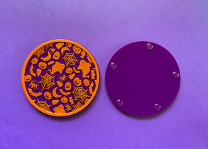 Halloween Coasters Purple and Orange (2 Pack)