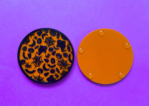 Halloween Coasters Black and Orange (2 Pack)