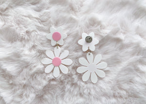 White and Pink Daisy Earrings
