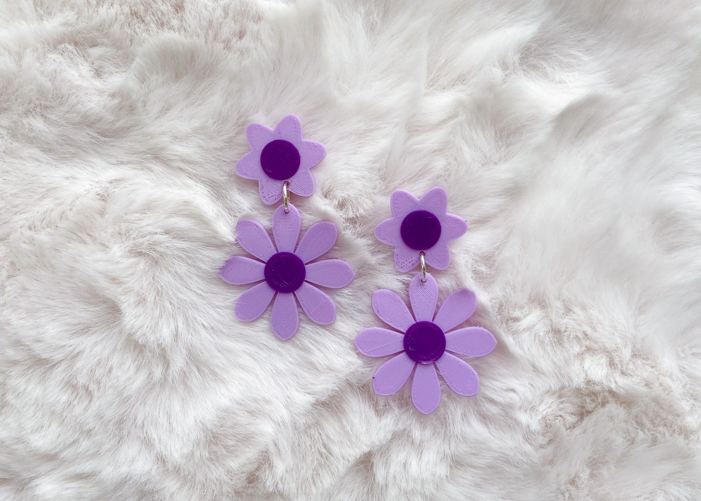 Lavender and Purple Daisy Earrings