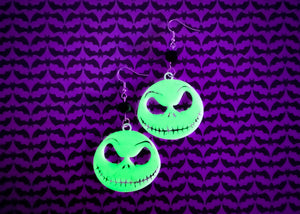 Glow in the dark Pumpkin King Earrings