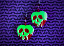 Load image into Gallery viewer, Glow in the dark Poison Apple Earrings