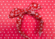 Load image into Gallery viewer, Red Snowflake Knotted Bow