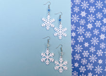 Load image into Gallery viewer, Snowflake Earrings (White)