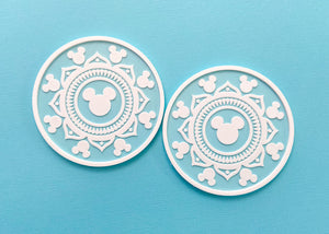 Mint Hidden Mouse Mandala Coasters (2 Pack)