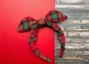 Red and Green Plaid Knotted Bow
