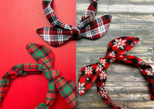 Snowflake Plaid Knotted Bow