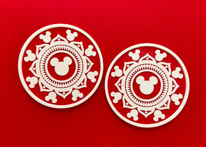 Red Hidden Mouse Mandala Coasters (2 Pack)