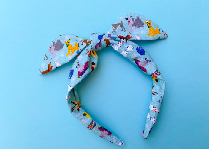 Blue Dogs Knotted Bow