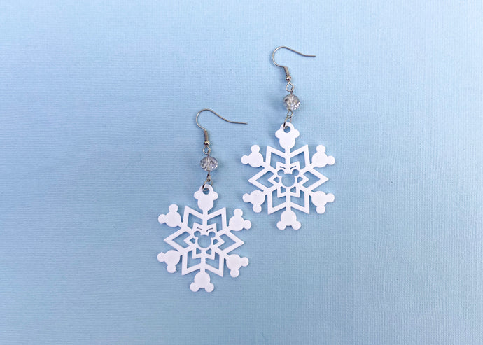 Hidden Mouse Snowflake Earrings (Silver)